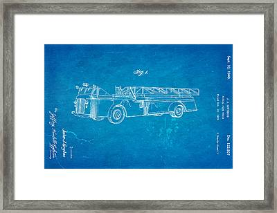 Grybos Fire Truck Patent Art 1940 Blueprint Framed Print by Ian Monk