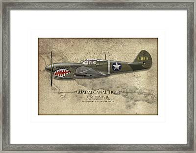 Guadalcanal Tiger P-40 Warhawk - Map Background Framed Print by Craig Tinder