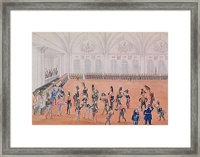 Guard Parade, 1820s Wc On Paper Framed Print by Russian School