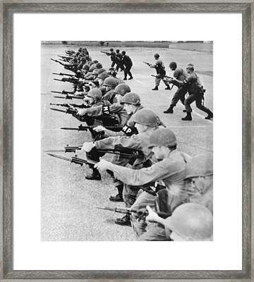 Guardsmen In Alabama Framed Print by Underwood Archives