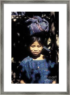 Guatemala Smiling Maya Girl Framed Print by John  Mitchell