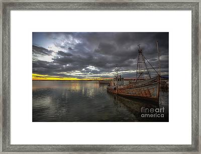 Guiding Light Stormy Sunset Framed Print by English Landscapes