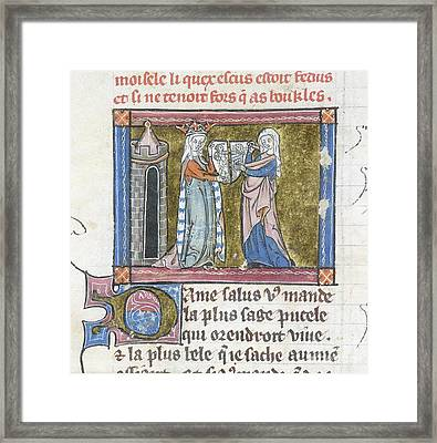 Guinevere With The Cleft Shield Framed Print by British Library
