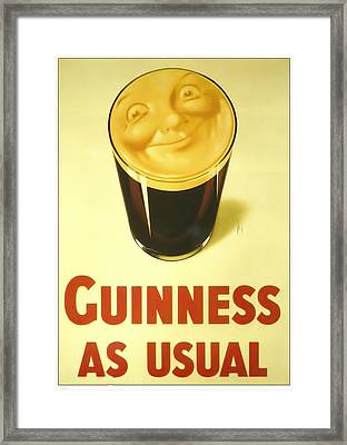 Guinness As Usual Framed Print by Georgia Fowler