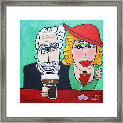Guinness Man With The Woman Of His Dreams Framed Print by Barbara McMahon