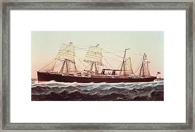 Guion Line Steampship Arizona Of The Greyhound Fleet Framed Print by Currier and Ives