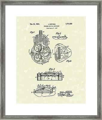 Guitar 1929 Patent Art Framed Print by Prior Art Design