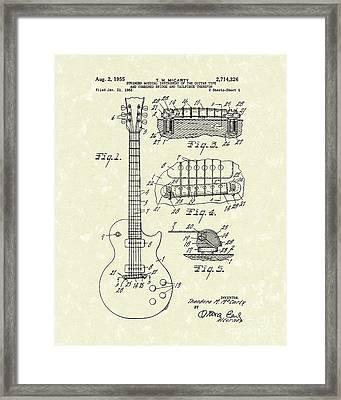 Guitar 1955 Patent Art Framed Print by Prior Art Design