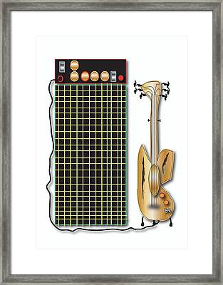 Guitar And Amp Framed Print by Marvin Blaine