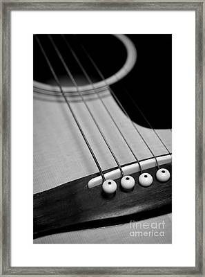 Guitar Bridge In Black And White Framed Print by Paul Ward