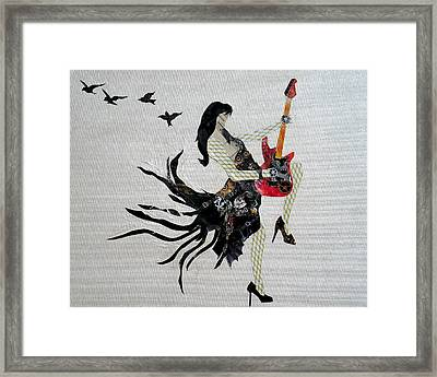 Steampunk Girl Girls With Guitars Collage Painting Framed Print by Holly Anderson