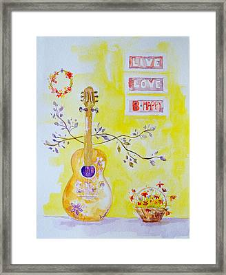 Guitar Of A Flower Girl Live Love Be Happy Framed Print by Patricia Awapara