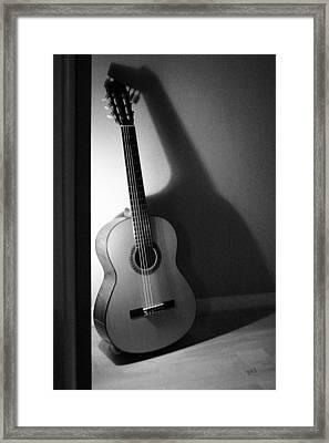 Guitar Still Life In Black And White Framed Print by Ben and Raisa Gertsberg