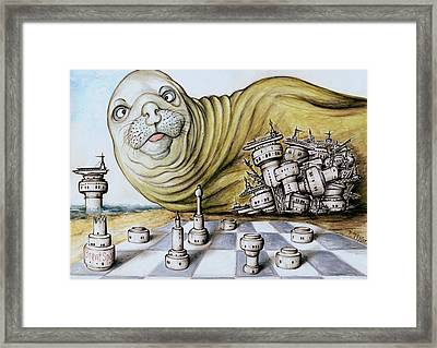 Gulf Coast Chess - Cartoon Drawing Framed Print by Art America Online Gallery