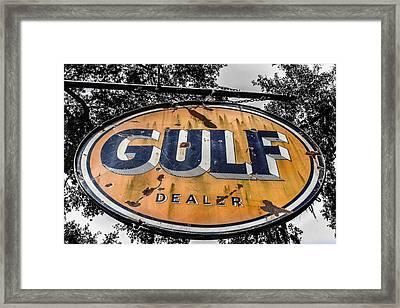 Gulf Dealer Sign Framed Print by Steven  Taylor