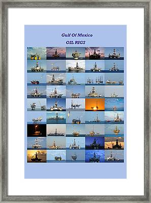 Gulf Of Mexico Oil Rigs Poster Framed Print by Bradford Martin