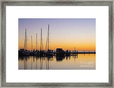 Gulf Of Mexico Sailboats At Sunrise Framed Print by Andre Babiak