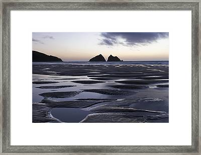 Gull Rocks Holywell Bay Framed Print by Debra Jayne