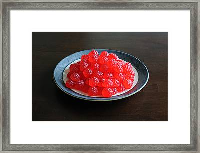Gummi Raspberries Framed Print by Scott Angus