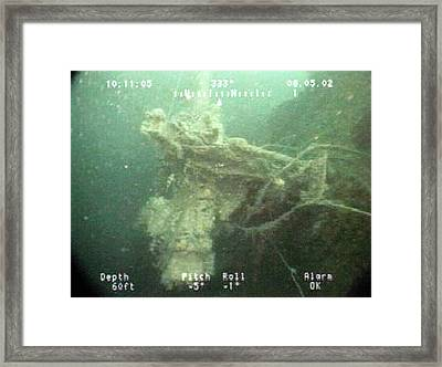 Gun Mounted On A Us Naval Shipwreck Framed Print by Us Navy