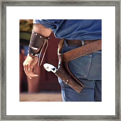 Gunfighter In Blue Framed Print by Art Block Collections