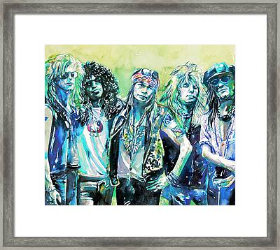 Guns N' Roses - Watercolor Portrait Framed Print by Fabrizio Cassetta