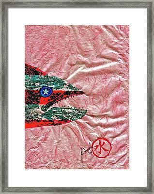 Gyotaku- 4th July - Spanish Mackerel- Bubble Gum Pink Framed Print by Jeffrey Canha