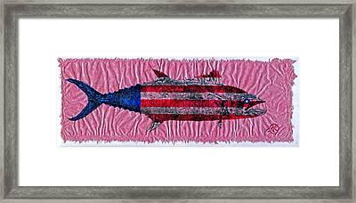 Gyotaku - American Spanish Mackerel - Flag Framed Print by Jeffrey Canha