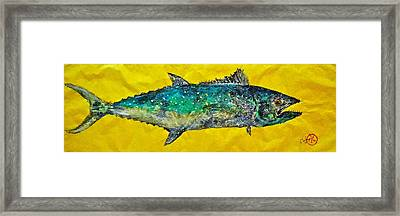 Gyotaku -spanish Mackerel - Bright Yellow Framed Print by Jeffrey Canha