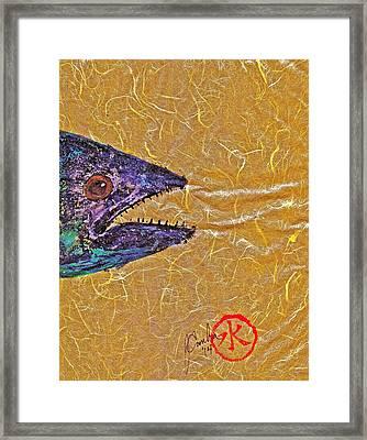 Gyotaku- Spanish Mackerel- Bright  Yellow Unryu Paper Framed Print by Jeffrey Canha