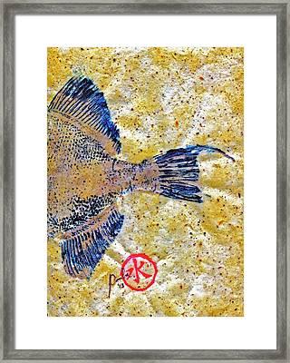 Gyotaku - Triggerfish - Oldwench -  Diptych 2  Framed Print by Jeffrey Canha