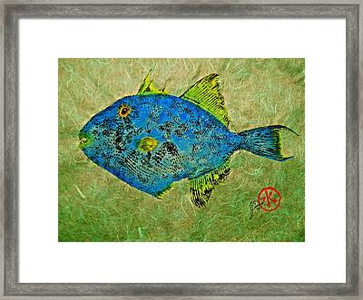 Gyotaku - Triggerfish - Queen Triggerfish Framed Print by Jeffrey Canha