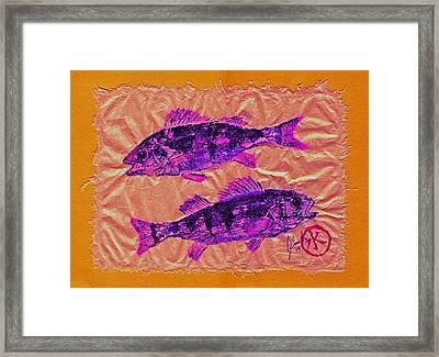 Gyotaku - Yellow Perch - Pink Fish Framed Print by Jeffrey Canha