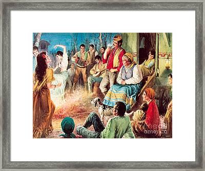 Gypsies Partying Framed Print by English School