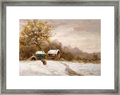 Gypsy Caravans In The Snow Framed Print by Leila K Williamson