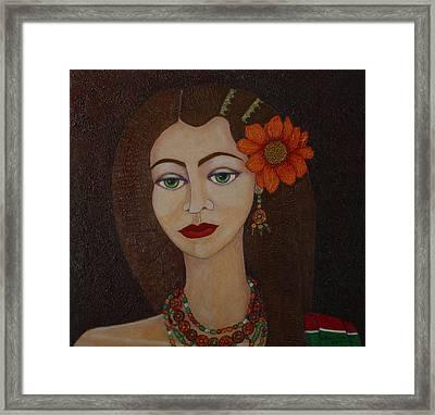 Gypsy With Green Eyes Framed Print by Madalena Lobao-Tello