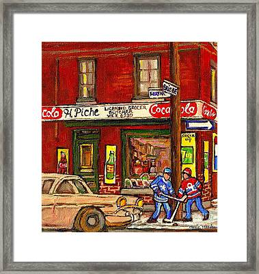 H. Piche Grocery - Goosevillage -paintings Of Montreal History- Neighborhood Boys Play Street Hockey Framed Print by Carole Spandau