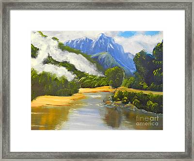 Haast River New Zealand Framed Print by Pamela  Meredith