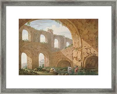 Hadrians Villa, Near Tivoli Framed Print by Charles Louis Clerisseau
