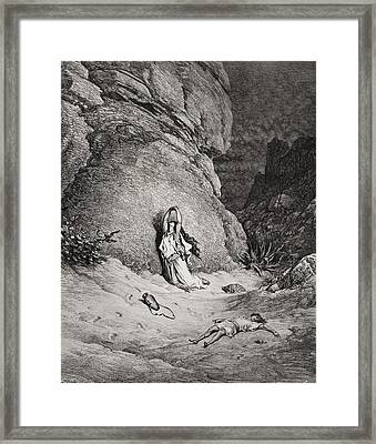 Hagar And Ishmael In The Desert Framed Print by Gustave Dore
