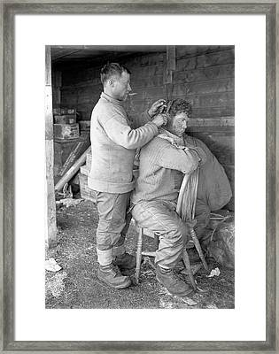 Hair Cut In The Antarctic Framed Print by Scott Polar Research Institute