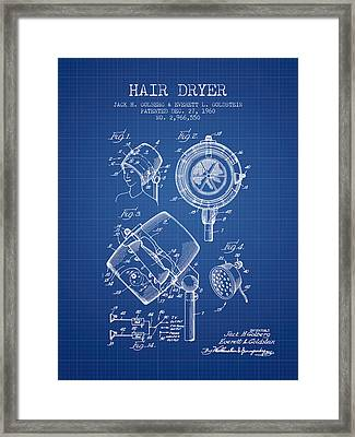 Hair Dryer Patent From 1960 - Blueprint Framed Print by Aged Pixel