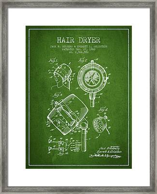 Hair Dryer Patent From 1960 - Green Framed Print by Aged Pixel