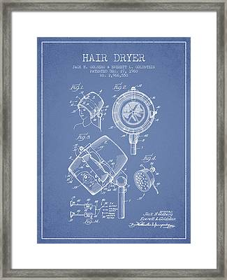 Hair Dryer Patent From 1960 - Light Blue Framed Print by Aged Pixel