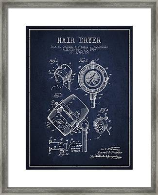 Hair Dryer Patent From 1960 - Navy Blue Framed Print by Aged Pixel