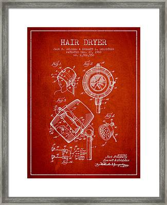 Hair Dryer Patent From 1960 - Red Framed Print by Aged Pixel