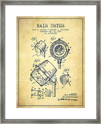 Hair Dryer Patent From 1960 - Vintage Framed Print by Aged Pixel