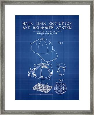 Hair Loss Reduction And Regrowth System Patent - Blueprint Framed Print by Aged Pixel
