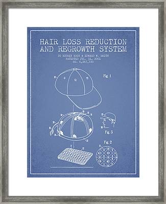 Hair Loss Reduction And Regrowth System Patent - Light Blue Framed Print by Aged Pixel