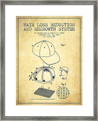Hair Loss Reduction And Regrowth System Patent - Vintage Framed Print by Aged Pixel